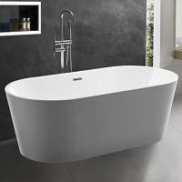 1200x710x550mm Ovia Gloss White Acrylic Oval Freestanding Bathtub with Overflow for bathroom