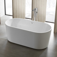 1300x710x550mm Ovia Gloss White Acrylic Oval Freestanding Bathtub with Overflow for bathroom