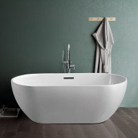 1530x770x555mm Olivia Oval Bathtub Freestanding Acrylic GLOSSY White Bath tub Overflow