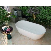 1530x770x555mm Olivia Oval Bathtub Freestanding Acrylic MATT White Bath tub NO Overflow