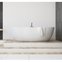 1690x805x550mm Olivia Oval Bathtub Freestanding Acrylic MATT White Bath tub Non-Overflow