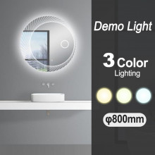 800mm Round 3 Color Lighting LED Mirror with Demo Light Function Touch Sensor Switch Defogger Pad Wall Mounted