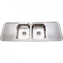 Cora 1500x500x180mm Stainless Steel Kitchen Sink Double Bowls with Drainer
