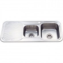 Cora 1080x480x170mm 1&3/4 Bowl Stainless Steel Kitchen Sink Single Drainer Left Right Available