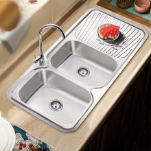 Cora 1180x480x170mm Double Bowls Stainless Steel Kitchen Sink Single Drainer Left Right Available