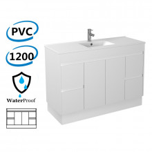 1200x460x880mm Bathroom Vanity with Kick-board White Polyurethane PVC Freestanding Cabinet ONLY & Ceramic top Available