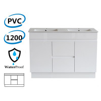 1200x460x880mm Bathroom Vanity Freestanding PVC Polyurethane Kick-board Cabinet ONLY & Double Bowls Thin Ceramic Top Available