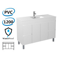 1200x460x880mm Bathroom Vanity Freestanding White PVC Polyurethane Cabinet ONLY & Ceramic/Poly Top Available