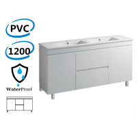 1200x460x880mm Bathroom Vanity Freestanding PVC Polyurethane Cabinet ONLY & Double Bowls Thin Ceramic Top Available