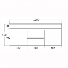 1200x460x550mm Bathroom Floating Vanity Wall Hung White PVC Polyurethane Cabinet ONLY & Double Bowls Thin Ceramic Top Available