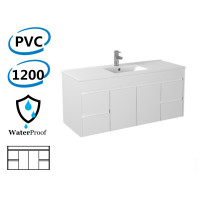 1200x460x550mm Bathroom Floating Vanity Wall Hung White PVC Polyurethane Cabinet ONLY & Single Bowl Ceramic/Poly Top Available