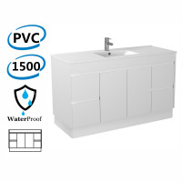 1500x460x880mm Bathroom Freestanding Vanity with Kick-board White Polyurethane PVC Cabinet ONLY & Thin Ceramic Top Single / Double Bowls Available