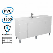 1500x460x880MM Bathroom Vanity White Polyurethane PVC Freestanding Cabinet ONLY & Ceramic Top Single Bowl / Double Bowls Available