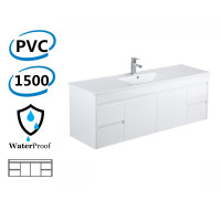 1500x460x550MM Wall Hung Bathroom Floating Vanity White Polyurethane PVC Cabinet ONLY&Ceramic Top Single Bowl/Double Bowls Available