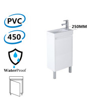 450x250x880mm Freestanding Narrow Bathroom Vanity with Poly Top Left Hand Hinge Polyurethane White PVC