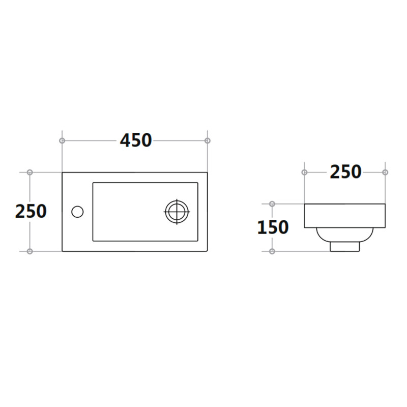 450mm White Bathroom Vanity Cabinet Unit with Poly Top P42LLG-PT