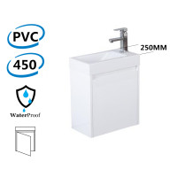 450x250x530mm Wall Hung White Bathroom Polyurethane PVC Floating Vanity with Poly Top Left Hand Hinge