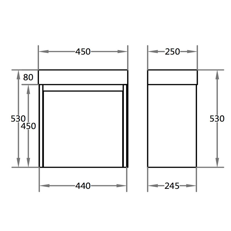 Wall Hung Vanity with Poly Top Right Hand Hinge P42RWH-PT