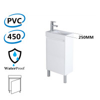 450x250x880mm Freestanding Narrow Bathroom Vanity with Poly Top Right Hand Hinge Polyurethane White PVC