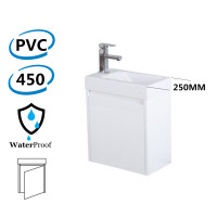 450x250x530mm Wall Hung White Bathroom Polyurethane PVC Floating Vanity with Poly Top Right Hand Hinge