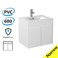 600x360x525mm Narrow Bathroom Floating Vanity Wall Hung White PVC Cabinet ONLY & Ceramic Top/Poly Top Available