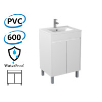 600x460x880mm Bathroom PVC Vanity Freestanding White Polyurethane Cabinet ONLY & Ceramic Top/Poly Top Available