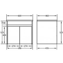 600x460x550mm Bathroom Floating Vanity Wall Hung White Polyurethane PVC Cabinet ONLY & Ceramic Top/Poly Top Available