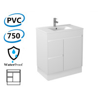 750x460x880mm Bathroom PVC Vanity Kickboard White Freestanding Left Hand Side Drawers Polyurethane Cabinet ONLY & Ceramic/Poly top Available