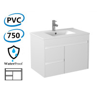 750x460x550mm Bathroom Floating Vanity Wall Hung Left Side Drawers PVC White Cabinet ONLY & Ceramic/Poly Top Available