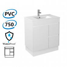 750x460x880mm Bathroom Vanity Freestanding Kick-board White PVC Right Hand Side Drawers Cabinet ONLY & Ceramic/Poly Top Available