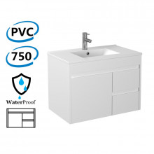 750x460x550mm Bathroom Floating Vanity Wall Hung Right Side Drawers PVC White Cabinet ONLY & Ceramic/Poly Top Available