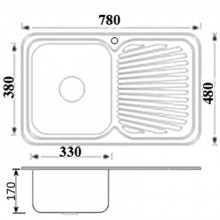 Cora 780x480x170mm Kitchen Sink Left Right Single Bowl Available Drainer Board