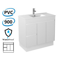 900x460x880mm Bathroom Vanity Kickboard White PVC Freestanding Left Hand Side Drawers Polyurethane Cabinet ONLY & Ceramic/Poly Top Available