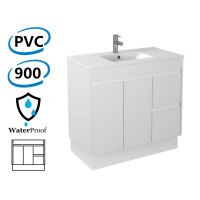 900x460x880mm Bathroom Vanity Kickboard White PVC Freestanding Right Hand Side Drawers Polyurethane Cabinet ONLY & Ceramic/Poly Top Available