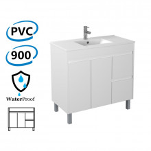 900x460x880mm Bathroom Vanity Freestanding Right Side Drawers White PVC Polyurethane Cabinet ONLY & Ceramic/Poly Top Available