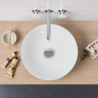 MACHO 355x355x120mm Round Gloss White Ceramic Above Counter Wash Basin Ultra Slim