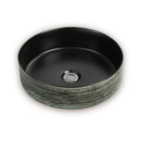 355x355x115mm Round Matt Black & Green Above Counter Ceramic Basin