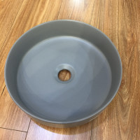 355x355x120mm Round Matt Grey Ceramic Above Counter Wash Basin