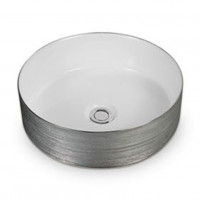 355x355x115mm Round Gloss White & Silver Above Counter Ceramic Basin