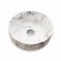 355x355x115mm Round Matt White Carrara Above Counter Ceramic Basin