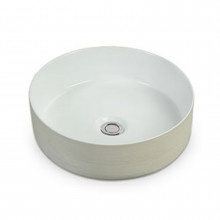 355x355x115mm Round Gloss White Above Counter Ceramic Basin Counter Top
