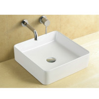 360x360x110mm Square Matt White Above Counter Top Ceramic Basin
