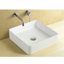 360x360x130mm Square Gloss White Above Counter Top Ceramic Basin Ultra Slim
