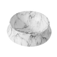 400x400x140mm Round Matt White Carrara Above Counter Ceramic Basin