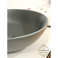400x400x140mm Round Matt Grey Above Counter Top Ceramic Basin