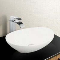 400x330x145mm Oval Above Counter Gloss White Ceramic Basin