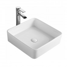 415x415x135mm Square Gloss White Above Counter Ceramic Wash Basin Ultra Slim