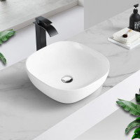MACHO 424x424x145mm Round-Edged Square Gloss White Ceramic Above Counter Basin Ultra Slim