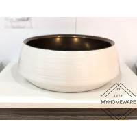 410x410x140mm Round Matt White & Copper Above Counter Basin