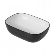 460x320x135mm Rectangle Gloss Black & White Above Counter Ceramic Basin Counter Top